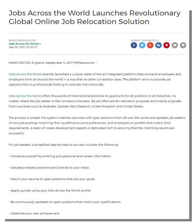 Jobs Across The World (JobsAWorld)-From the Media